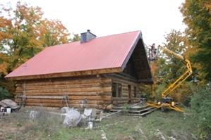 Log Cabin Restoration   Log Cabin Media Blasting by the LogDocotors.