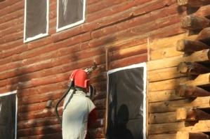 Log Home Restoration   Log Home Media Blasting
